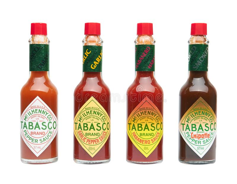 Set of Tabasco hot sauce royalty free stock photo