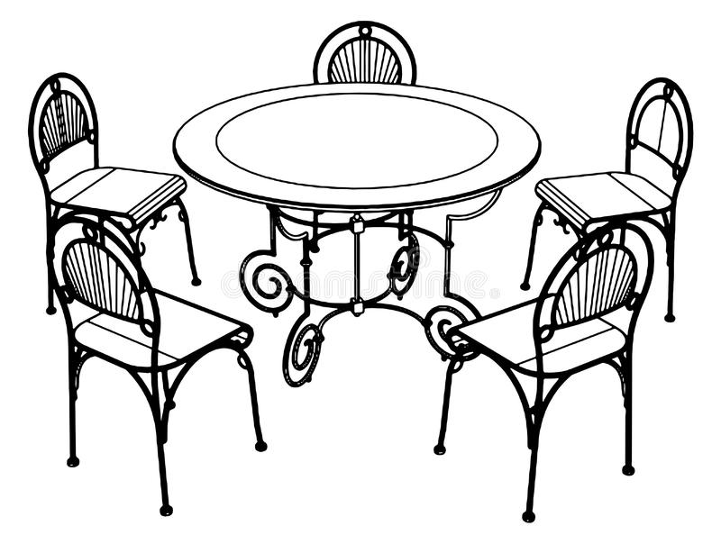 Set Table And Chairs Vector 02 Stock Vector Illustration