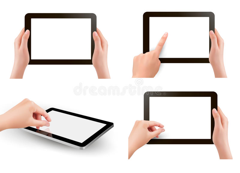 Download Set Of Tables Pc With Hands Stock Vector - Illustration of device, hold: 27543263