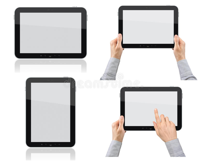 Set Of Tablet PC With Hands Royalty Free Stock Photography