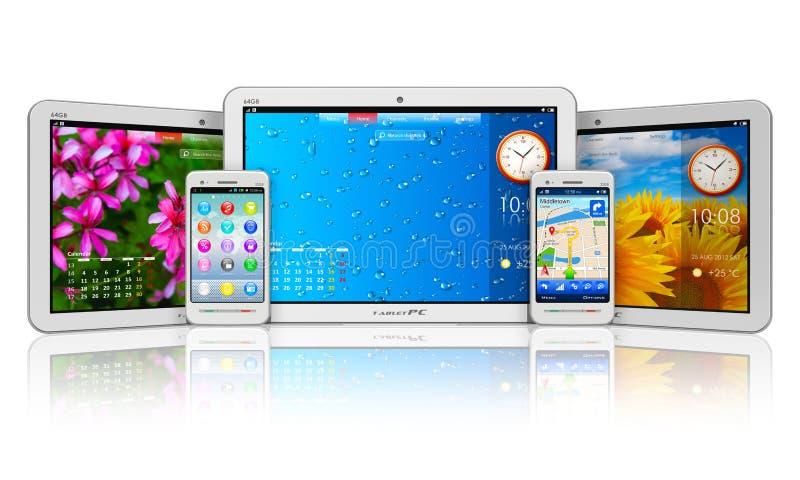 Set Tablette Computer und smartphones stock abbildung