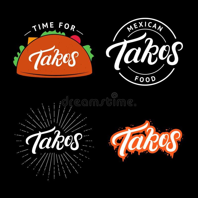 Set Tacos wręcza pisze pisać list loga, etykietka, odznaka, emblemat royalty ilustracja