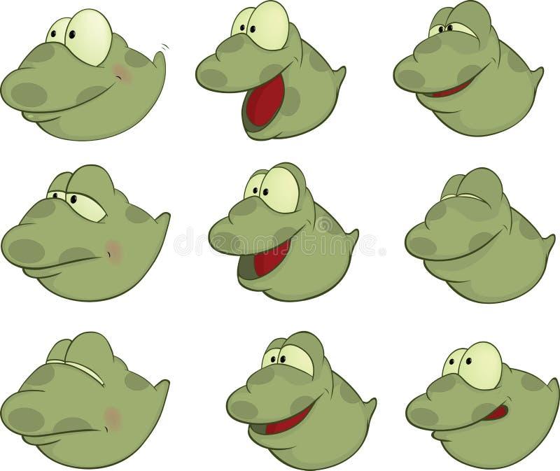 Set of Tadpoles Cartoons. Set of little green nice tadpoles stock illustration