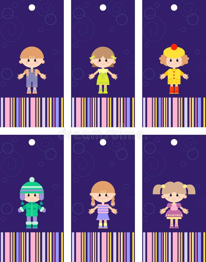 Set Of Tags With Children Stock Photo