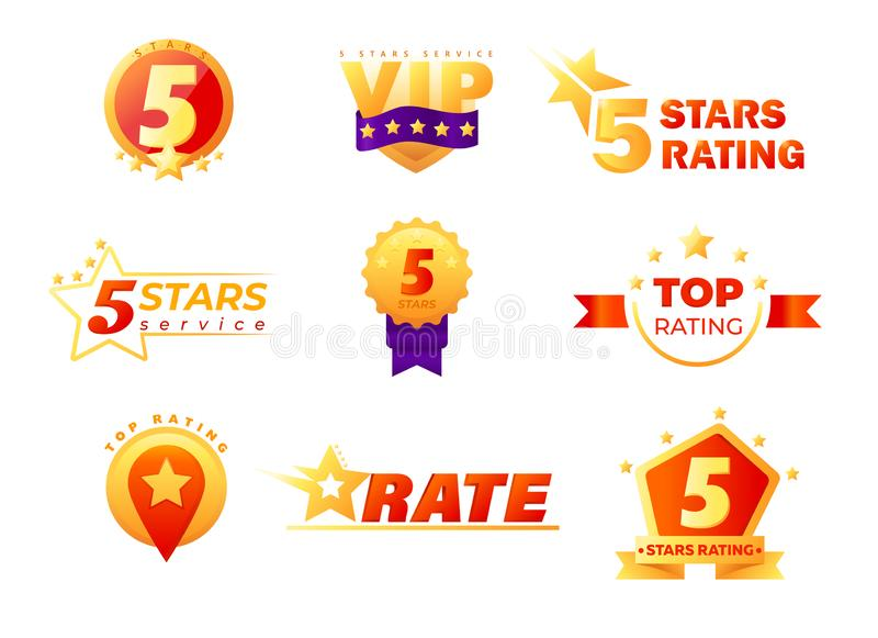 Set of Tags and Labels for 5 Stars Vip Service Rating Isolated. High Quality Perfect Class Products Rate. Tags. Or Stickers for Social Media or Mobile royalty free illustration