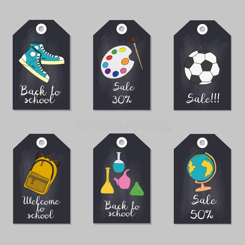 Set of tags with school supplies. Vector illustration vector illustration