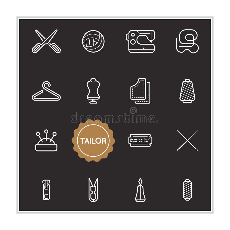 Set of Tailor Vector Illustration Elements can be used as Logo o. R Icon in premium quality royalty free illustration