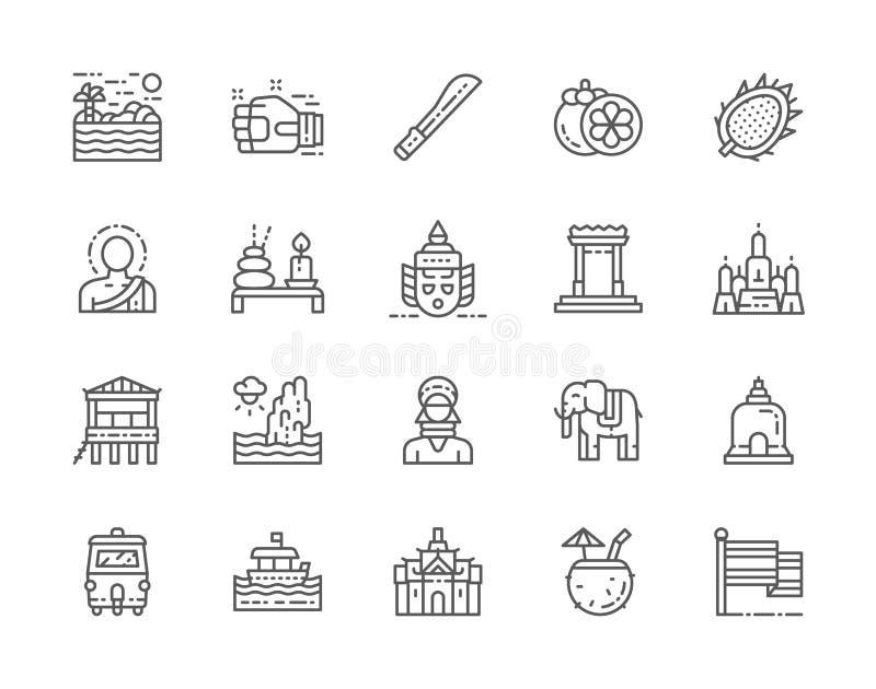 Set Tajlandia kultury linii ikony Maczeta, Muay Tajlandzki, mangostan i wi?cej, royalty ilustracja