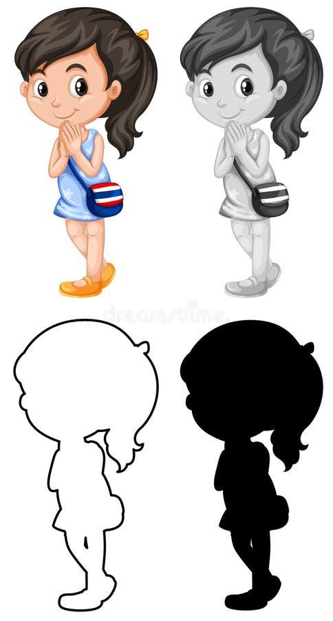 Set Tajlandzki charakter royalty ilustracja