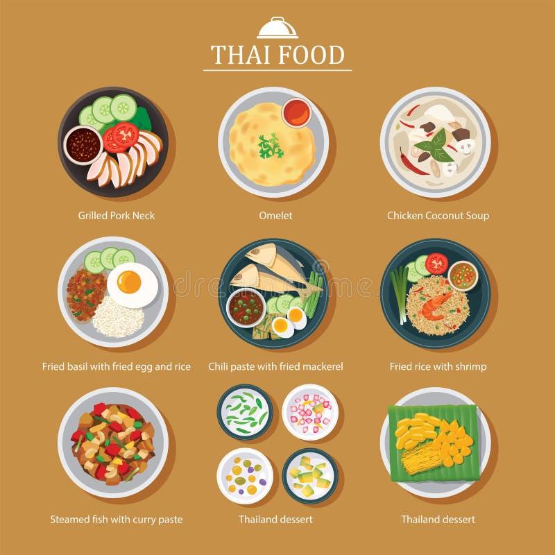 Set tajlandzki karmowy płaski projekt royalty ilustracja