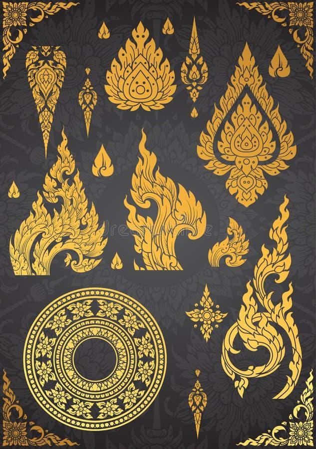 Set Tajlandzki sztuka element, Dekoracyjni motywy Etniczna sztuka, ikona ilustracja wektor
