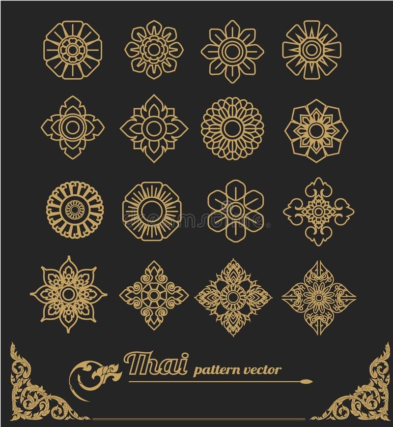 Set tajlandzki sztuka projekt, kwiatu projekt royalty ilustracja