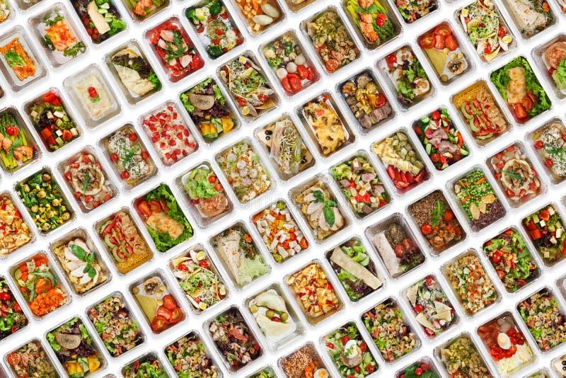 Set of take away food boxes at white background royalty free stock photos