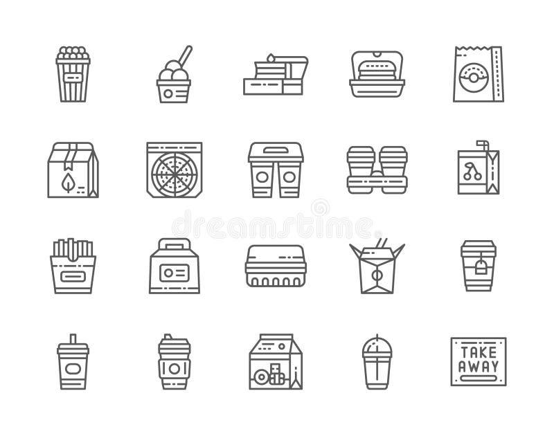 Set Takeaway linii ikony Popkornu wiadro, lunchu pude?ko, Kartonowe fili?anki i wi?cej, royalty ilustracja