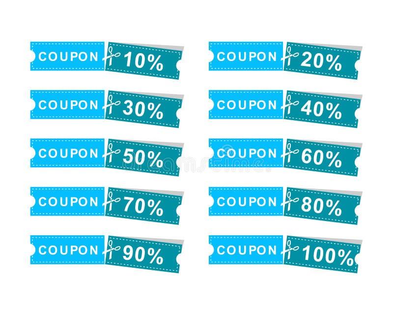 Set talonu dyskontowy sztandar 10%, 20%, 30%, 40%, 50%, 60%, 70%, 80%, 90%, 100%, oferuje royalty ilustracja