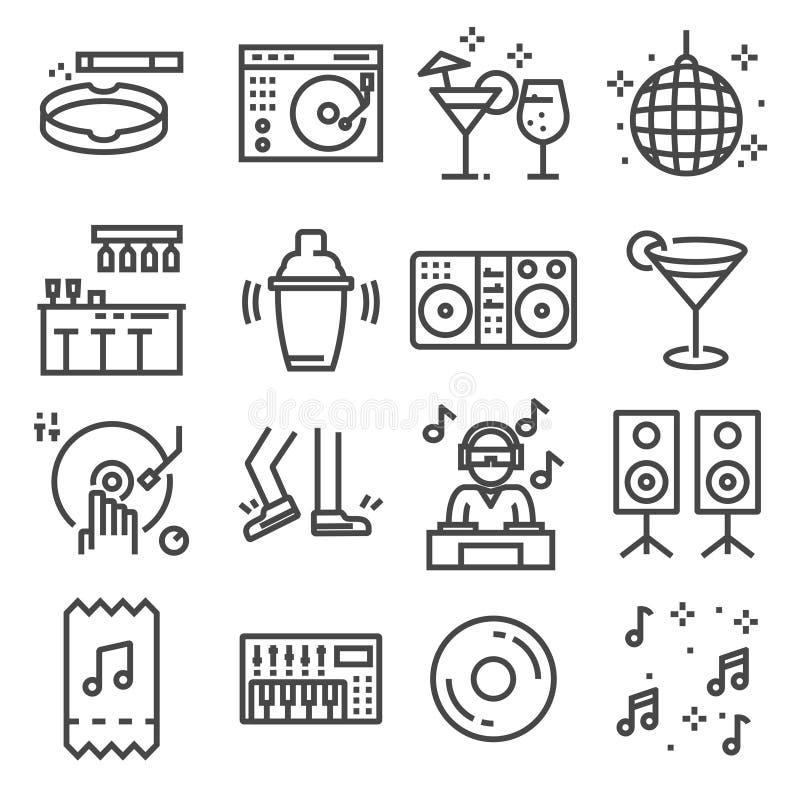 Set taniec, dj, muzyka, dyskoteka wektoru linii ikony royalty ilustracja