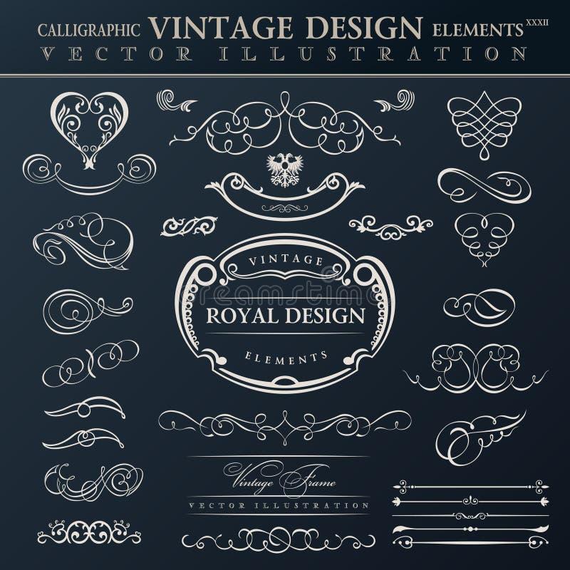 set tappning för calligraphic elementprydnad Vektorn inramar orname royaltyfri illustrationer