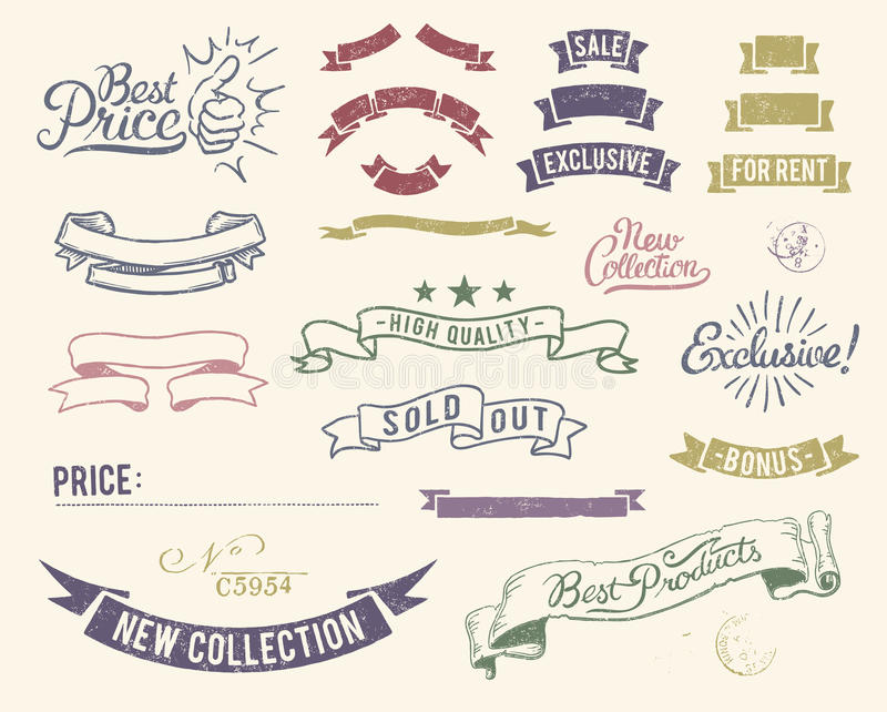 set tappning för symbolsförsäljning stock illustrationer