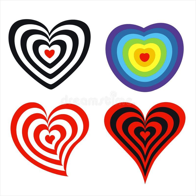 Target in heart shape vector illustration