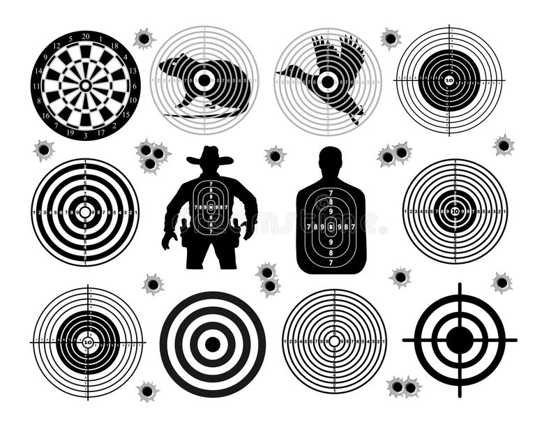 Set of targets shoot gun aim animals people man isolated. Sport Practice Training. Sight, bullet holes. Targets for shooting. Dart. S board, archery. vector stock illustration