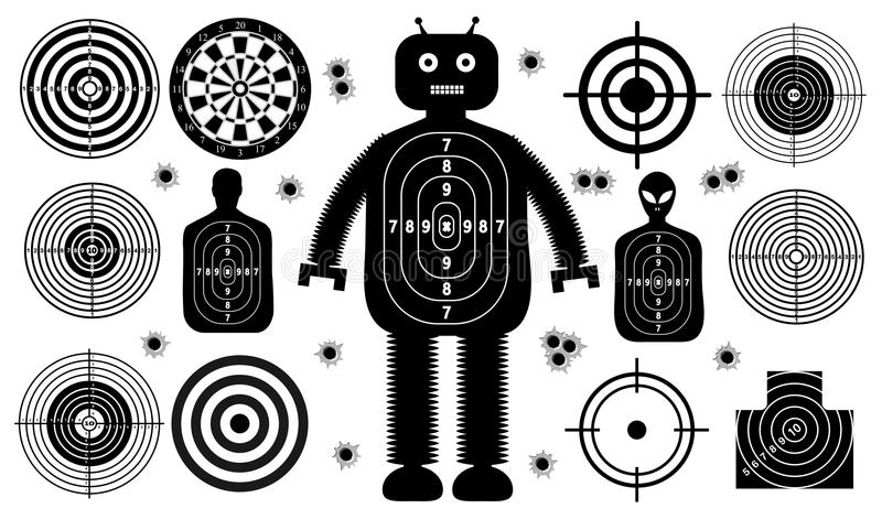 Set of targets shoot gun aim people man isolated. Sport Practice Training. Sight, bullet holes. Targets for shooting. Darts board vector illustration