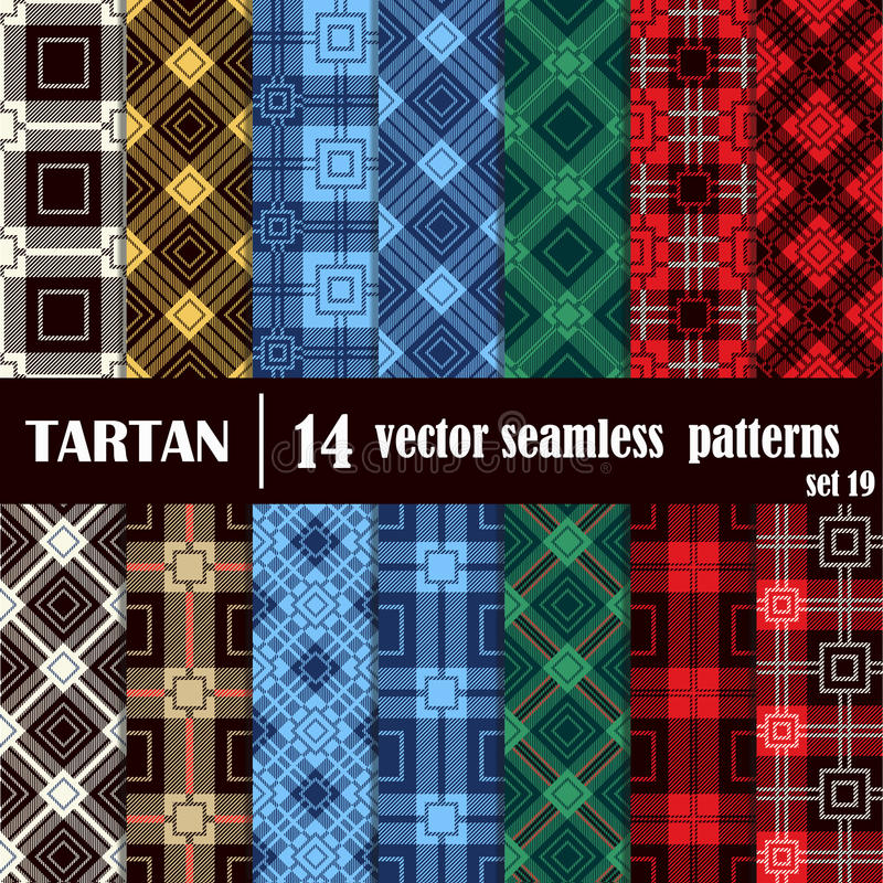 Set tartan seamless pattern in different colors. royalty free illustration