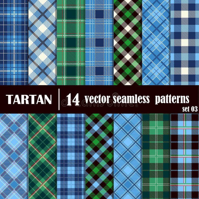 Set Tartan Seamless Pattern stock illustration