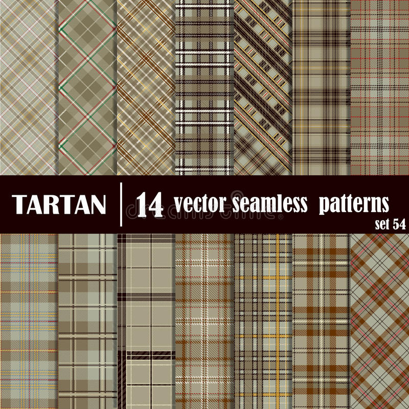 Set Tartan Seamless Pattern. Traditional Scottish Ornament. Tartan Plaid Inspired Background. Seamless Samples for Background, Suitable for Christmas and New royalty free illustration