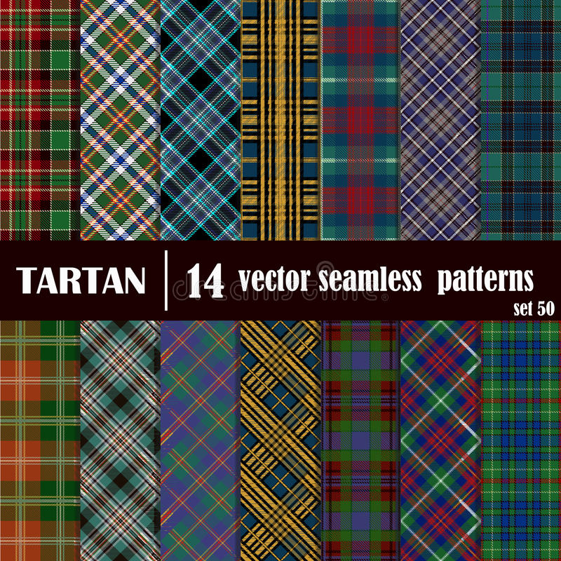 Set Tartan Seamless Pattern. Traditional Scottish Ornament. Tartan Plaid Inspired Background. Seamless Samples for Background, Suitable for Christmas and New stock illustration