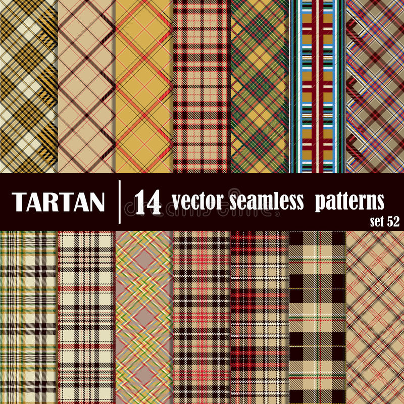 Set Tartan Seamless Pattern. Traditional Scottish Ornament. Tartan Plaid Inspired Background. Seamless Samples for Background, Suitable for Christmas and New vector illustration