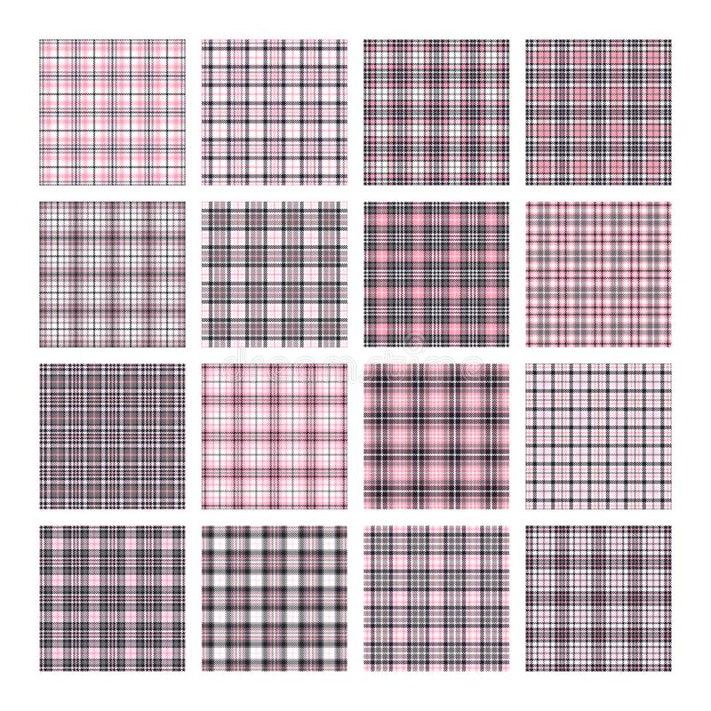 Set of 16 tartan seamless vector patterns. Checkered plaid texture. Geometrical square background for fabric. Set of 16 tartan seamless vector patterns vector illustration