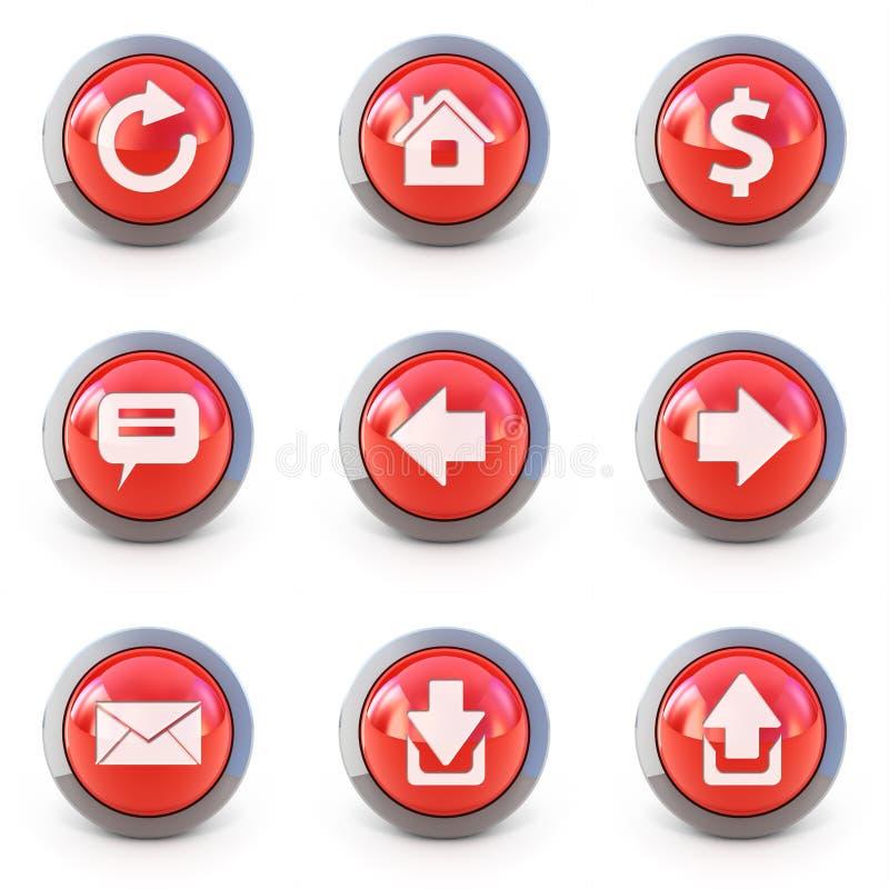 Set Tasten der Web-Schnittstelle 3d lizenzfreie abbildung
