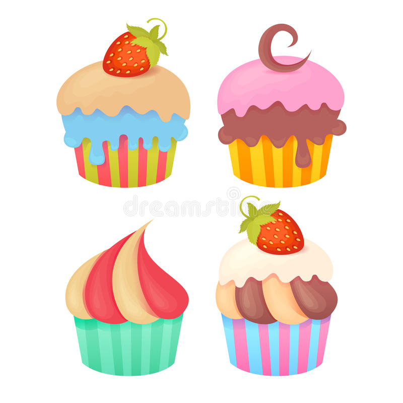 Set Of Tasty Colorful Muffins Stock Illustration
