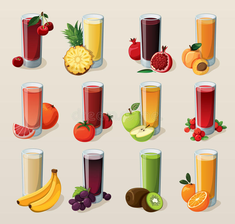 Set of tasty fresh squeezed juices. royalty free illustration