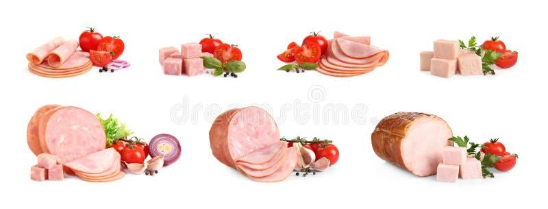 Set of tasty hams. On white background royalty free stock photos