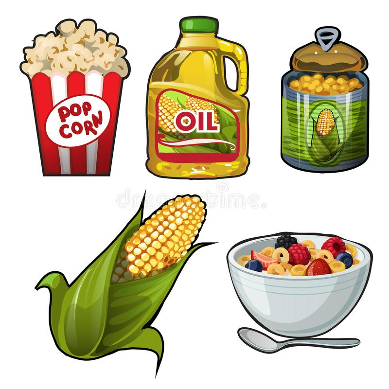 Set of tasty and useful food of corn isolated on white background. Vector cartoon close-up illustration. royalty free illustration