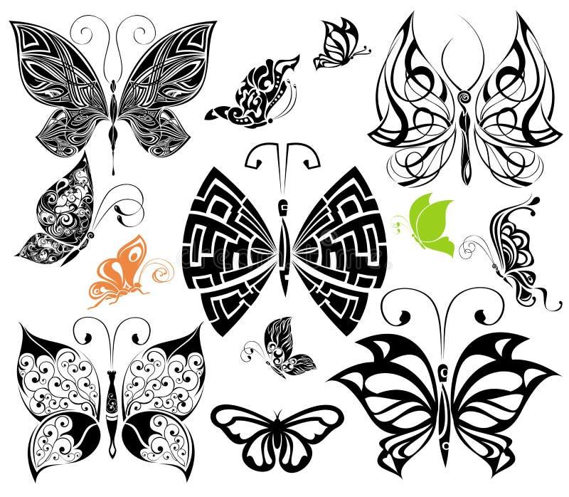 Set of Tattoo butterflies 2. Tattoo design royalty free illustration