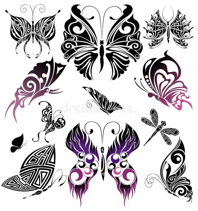 Set of Tattoo butterflies. Tattoo design royalty free illustration