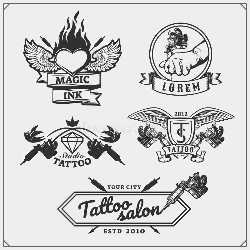 Set of tattoo salon labels, badges and design elements. Tattoo studio emblems with professional equipment. vector illustration
