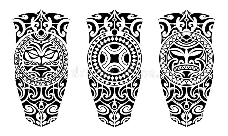 Set of tattoo sketch maori style royalty free illustration