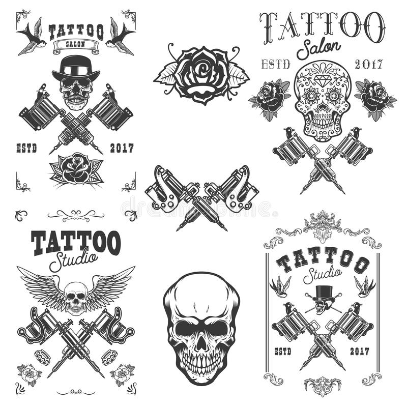 Set of tattoo studio emblems. Design elements for logo, label, emblem, sign, poster, t shirt. vector illustration