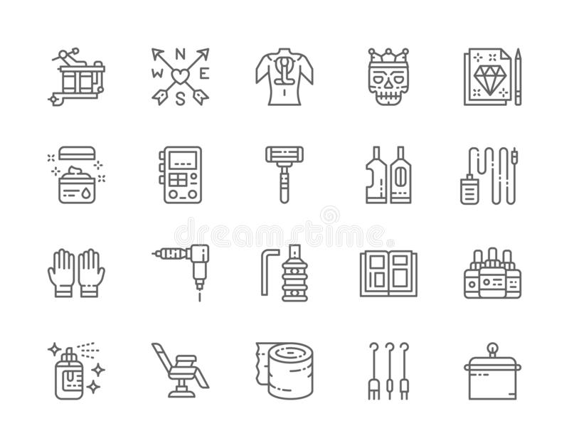 Set of Tattoo Studio Line Icons. Rubber Gloves, Vaseline, Ink Bottles and more. Set of Tattoo Studio Line Icons. Tattoo Machine, Vaseline, Power Machine Supply vector illustration