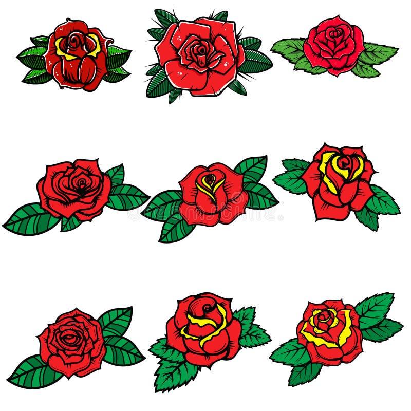 Set tatuażu stylu róże Projektuje element dla plakata, karta, sztandar, t koszula ilustracja wektor