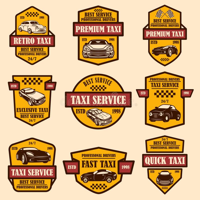 Set of taxi service emblems. Design element for logo, label, sign, poster, card. royalty free stock photos