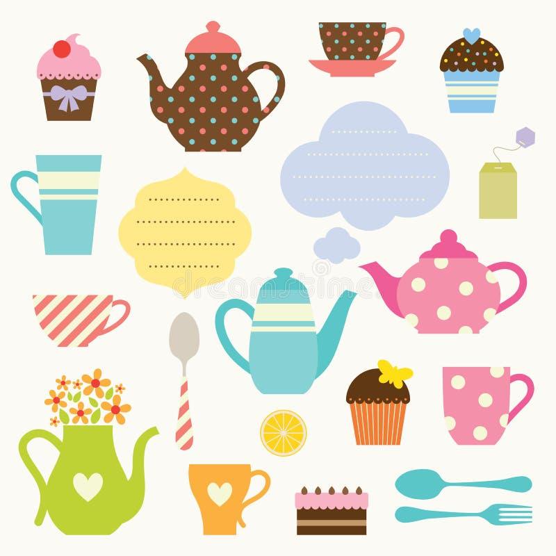 set tea för deltagare vektor illustrationer