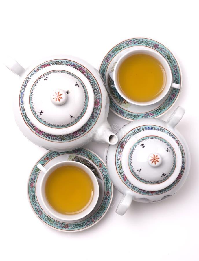 set tea för porslingreen arkivbild