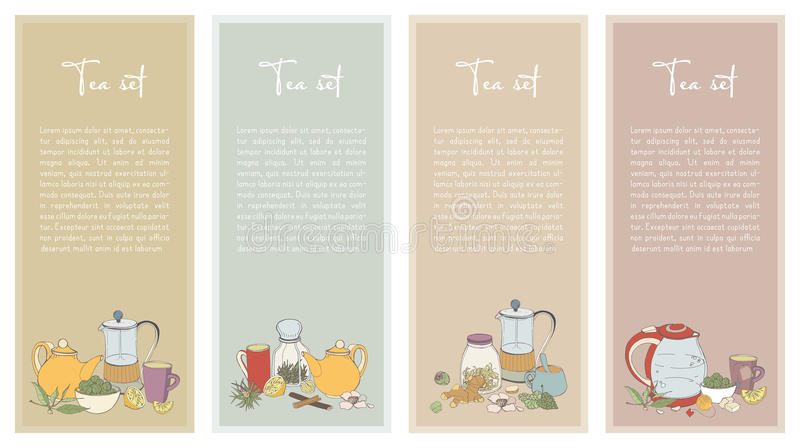 Set with Tea flyer. Collection of vertical banner for shop design. Hand drawn vector illustration. vector illustration