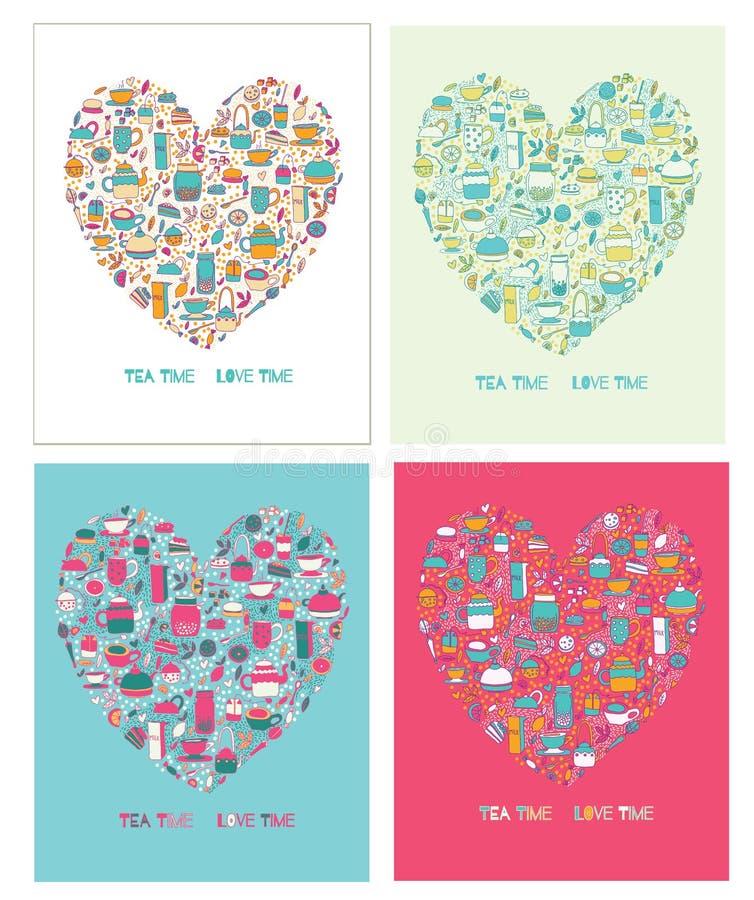 Set tea heart stock illustration