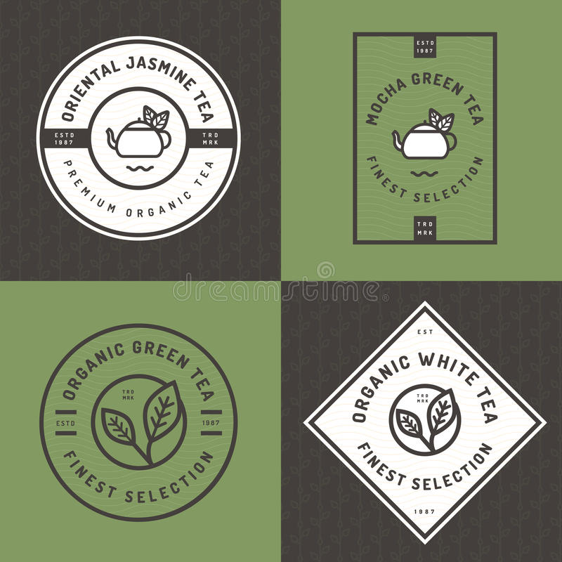Set of tea logo, badges, banners, emblem for tea shop in linear style with leaf seamless pattern background. Organic tea package. vector illustration