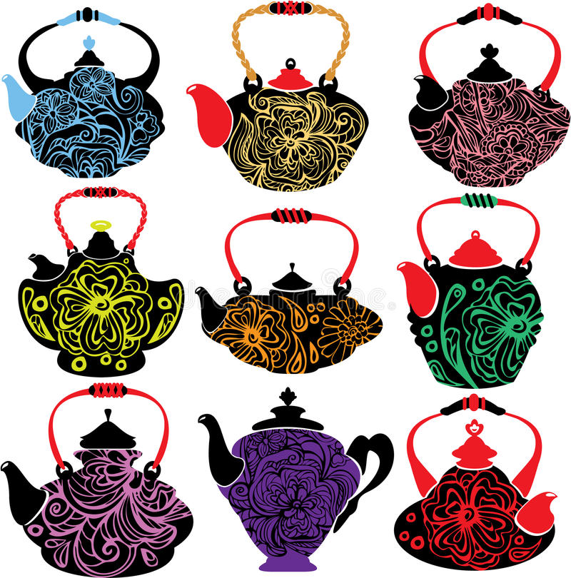 Set of teapot with floral ornament isolated on Whi vector illustration